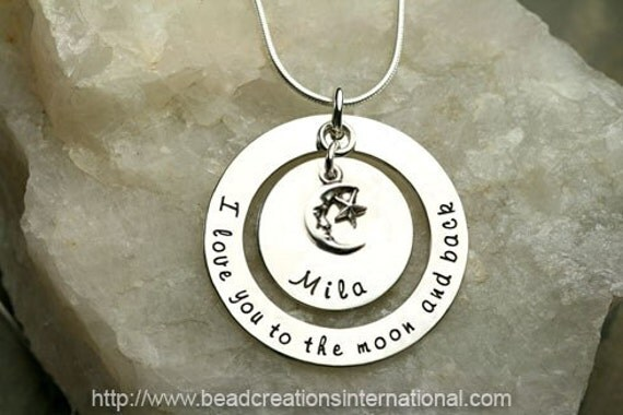 I Love You To The Moon and Back with Charm and One Name Hand Stamped Necklace