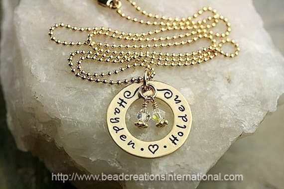 Personalized Hand Stamped Necklace with 2 Names in Gold Filled