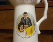 CLEARANCE Small China Pitcher, President and Mrs. John F. Kennedy