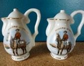 Vintage Salt and Pepper Shakers, Canada Souvenir, Mounty on Horseback