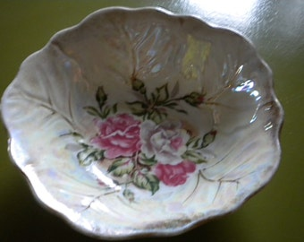 SALE Vintage Iridescent Bowl With Rose Design