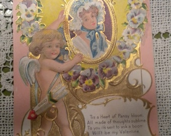 SALE 1909 Valentine Postcard With Poem and Cupid