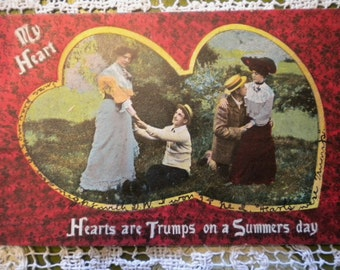 SALE Hearts are Trumps on a Summers Day, Antique Postcard