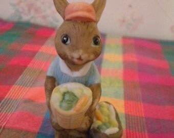 SALE Vintage LEFTON Bunny Figurine With Baskets of Vegetables