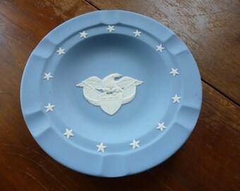 SALE Vintage Wedgwood Jasperware Executive Ashtray, Blue, Eagle Medallion