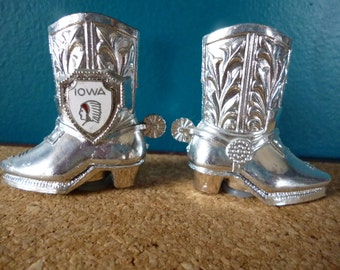 SALE Vintage Iowa Cowboy Boots Salt and Pepper Shakers