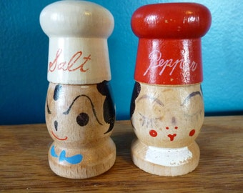 Vintage Wooden Chef Salt and Pepper Shakers
