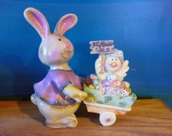 SALE Sweet Resin Easter Bunny With Cart Full of Jelly Beans