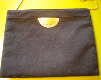CLEARANCE Vintage REVA Ultra Suede Black Clutch