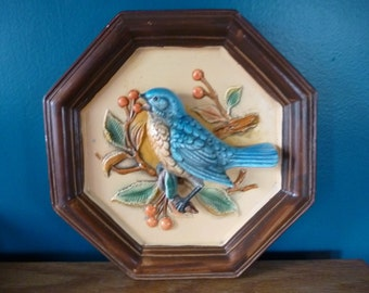 Vintage NAPCOWARE Eastern Bluebird Wall Plaque