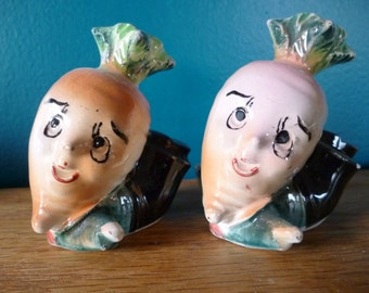 SALE Anthropomorphic Turnips in Suits Salt and Pepper Shakers