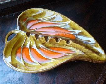 Mid Century Leaf Shaped Pottery Ashtray, Orange and Gold