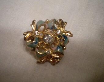 Vintage Enameled Bow Pin Brooch