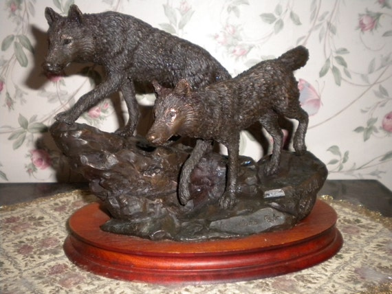 CLEARANCE SALE C. A. Pardell Bronze Statue The Alpha Pair