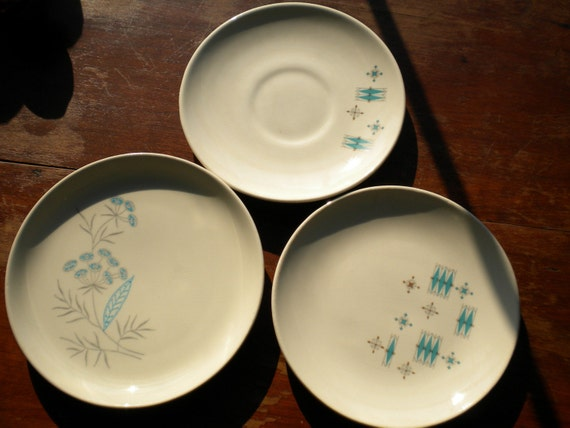 Lot of 3 Small Mid Century Plates With Turquoise and Gray Designs