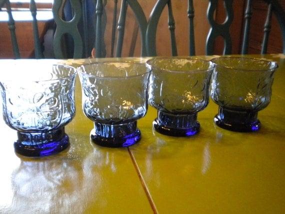 Set of 4 Libbey Blue Daisy Rocks Glasses