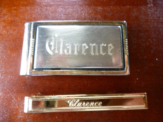 Treasury Item - Vintage Tie Bar and Money Clip, Engraved CLARENCE