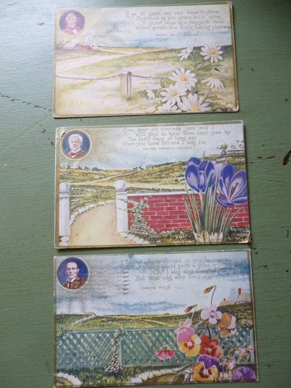 Set of 3 Early 1900s Poetry Postcards - Emerson, Holmes, Field