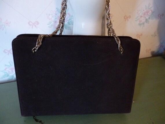 SALE Vintage 1950s Mayer New York Brown Suede Handbag