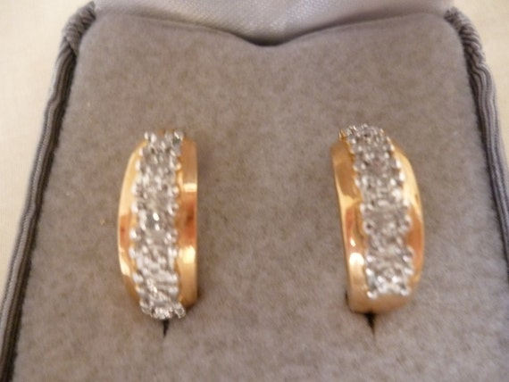 RESERVED for Baroko - Do Not Purchase - Vintage 18K Gold Over Sterling Silver Rhinestone Hoops, NIB