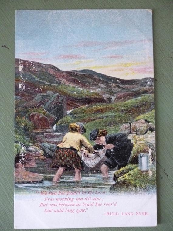 Antique British Postcard, Auld Lang Syne