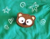 Brooch or magnet -Nebu the Brown bear-