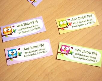 Personalized Return address labels -Rainbowls- Set of 28