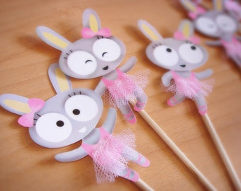 Cupcake toppers -Bunnies Ballerinas-