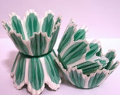Mini Green Tulip Baking Cups with Scallop Edges- Choose Set of 50 or 100