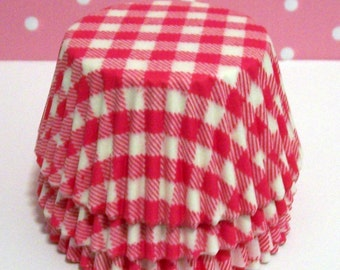 Pink Gingham Cupcake Liners- Choose Set of 50 or 100