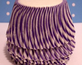 Purple Carnival Stripe Cupcake Liners- Choose Set of 50 or 100