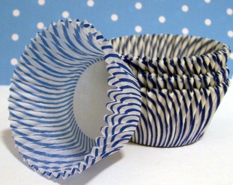 50 Blue Striped Cupcake Liners