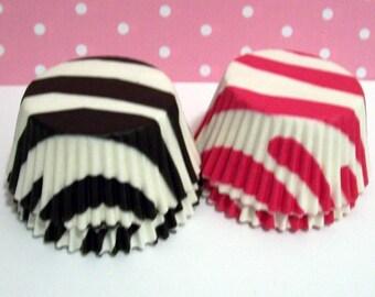 50 Hot Pink and Black Zebra Stripe Cupcake Liners