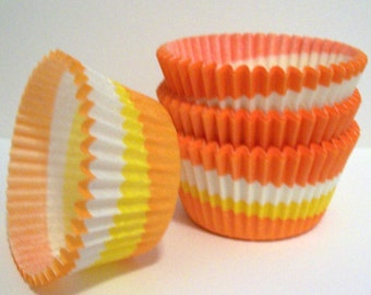 Orange-Yellow Swirl Cupcake Liners- Choose Set of 50 or 100