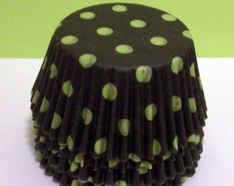 Black with Lime Green Dots Cupcake Liners- Choose Set of 50 or 100