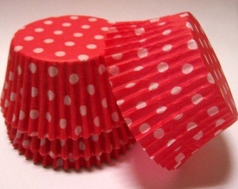 Red Polka Dot Cupcake Liners- Choose Set of 50 or 100