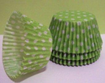 Lime Green Polka Dot Cupcake Liners- Choose Set of 50 or 100