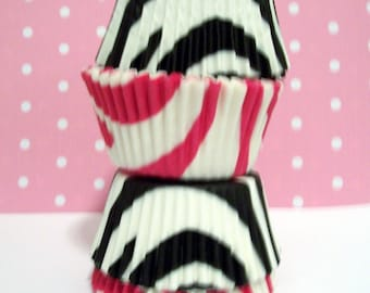 100 Hot Pink and Black Zebra Stripe Cupcake Liners