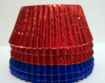 60 Mix of Red and Blue Foil Standard Size Cupcake Liners