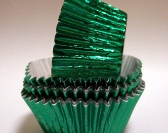 MINI Green Foil Baking Cups- Candy Liners- Choose Set of 50 or 100