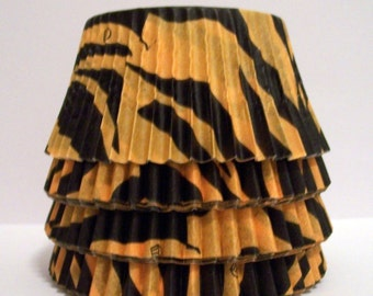 100 Orange and Black Zebra Striped Cupcake Liners
