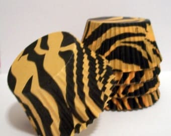 50 Orange and Black Zebra Striped Cupcake Liners