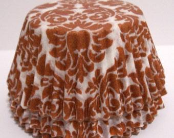Rust Damask Cupcake Liners- Choose Set of 50 or 100