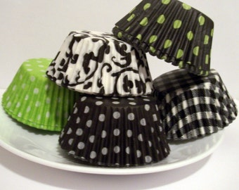 100 Lime and Black Print Cupcake Liner Assortment