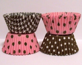 60 Brown Gingham and Pink w Brown Dots Cupcake Liners