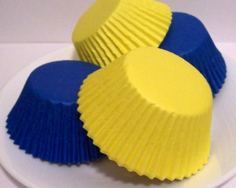 60 Blue and Yellow Cupcake Liner Assortment
