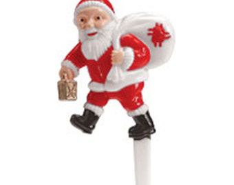 6 Santa w Lantern Cupcake Picks