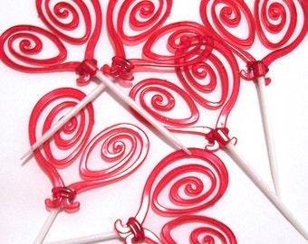 12 Red Swirly Hearts Cupcake Picks