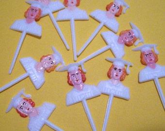 12 Retro Girl Graduation Picks Cupcake Picks