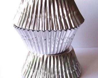 50 Silver JUMBO Size Foil Cupcake Liners